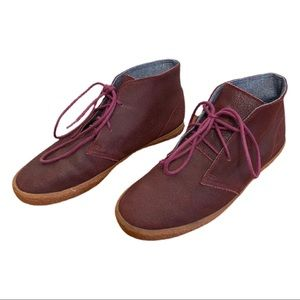 Superga Red Leather Lace Up Chukka Desert Boot